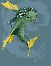 """""""Fish Warrior"""" 24.65″ x 31.89″ Digital Media Part of a deadly species, this fish warrior is territorial and cunning."""
