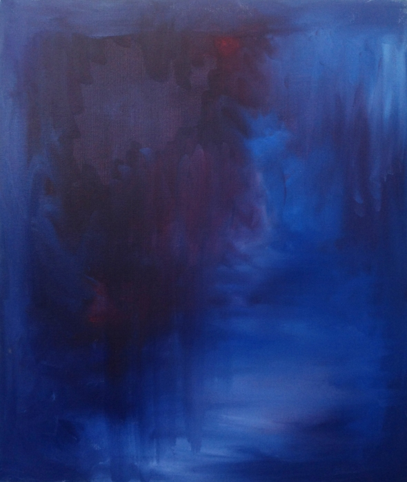 """""""Dawn""""  20″ x 24″ Oil Paint on Canvas The second piece of an abstract series of three, this is a scene of growing calm and inner peace."""