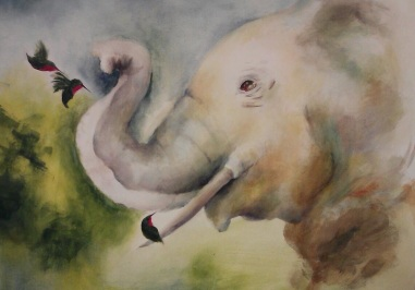 "Old World, New World 36"" x 42"" Acrylic Paint on Canvas The Old World Elephant and the New World Hummingbirds come together to be best of friends"