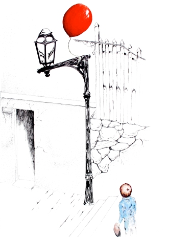 """""""The Red Balloon"""" 16″ x 20″ Colored Pencil and Ink on Paper"""
